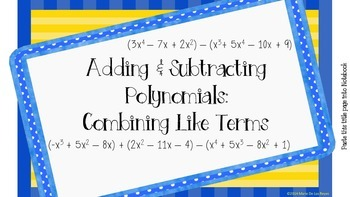 Polynomials Combining Like Terms