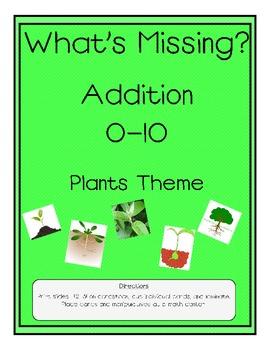 Addition 0-10 What's Missing? Plants Theme