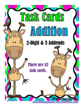 Addition - 2 Digit & 3 Addends - Task Cards