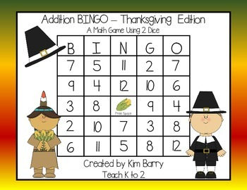 Addition BINGO With 2 Dice - Thanksgiving Edition