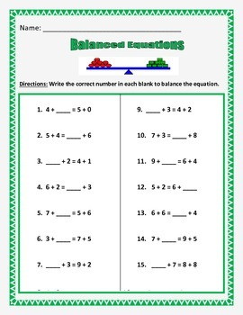 Addition Balanced Equations - Equal Sides of the Equation-
