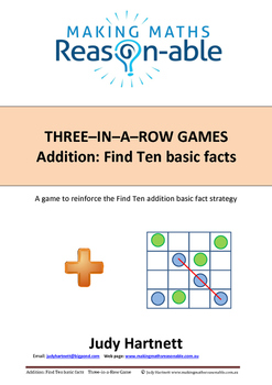 Addition Basic Facts - Find Ten 3-in-a-row game