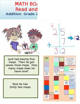 Addition Board Game Grade 2 Math and Grade 2 Reading