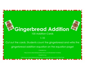 Addition Cards for Math Centers Game - Gingerbread Theme!