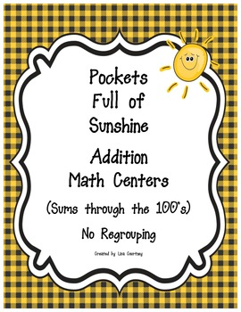 Addition Center - POCKETS FULL OF SUNSHINE -  No Regroupin