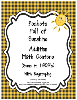 Addition Center - POCKETS FULL OF SUNSHINE -  With Regroup