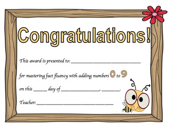 Addition Certificates Bee Theme (adding 0-9)
