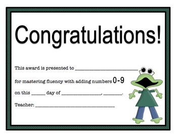 Addition Certificates Monsters Theme (adding 0-9)