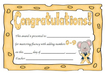 Addition Certificates Mouse Theme (adding 0-12)