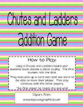 Addition Chutes and Ladders Cards