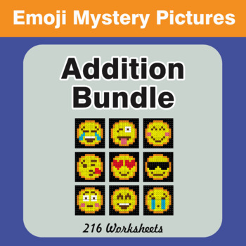Addition Color-By-Number EMOJI Mystery Pictures Bundle