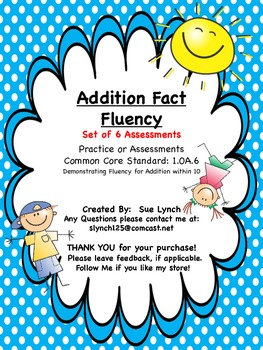 Addition Fact Fluency within 10 (Set of 6) Assessments CCS