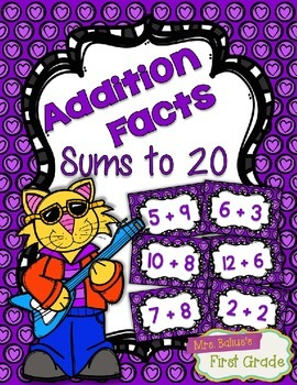 Addition Fact Fluency Practice Cards 0-20 {PURPLE} Flash Card