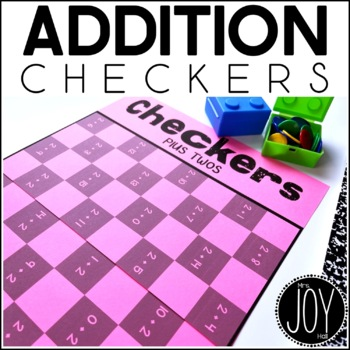Addition Facts Checkers Game for Math Centers and Math Stations