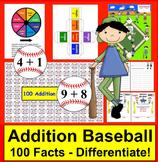 Addition Facts Math Centers Activities Baseball - 4 ways t