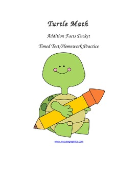 Addition Facts Practice Problems Packet - Turtle Math