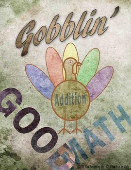 Addition Facts NO PREP *Gobblin Good Math* November Thanks