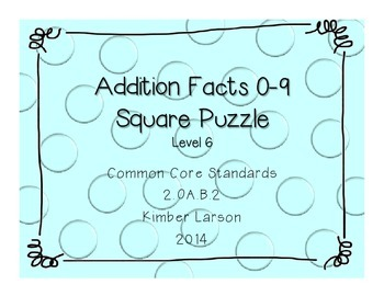 Addition Facts Square Puzzle-Level 6