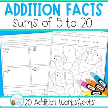 Addition to 20 Worksheets