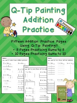 Addition Facts to 10 Q-Tip Painting Pages- Kindergarten Ma