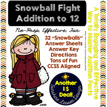 Addition Facts to 12 Snowball Fight! Print, Cut, Crumble,