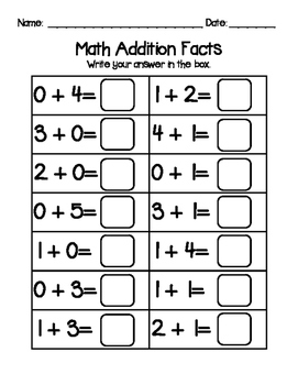 Addition Facts to 5