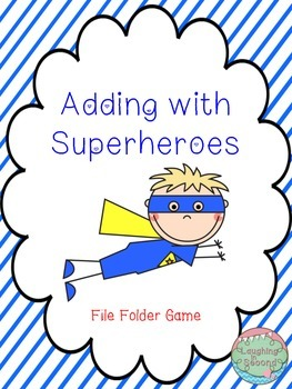 Addition File Folder Game - Superhero Theme