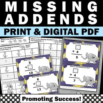 Missing Addends Addition Facts Kindergarten 1st Grade Math