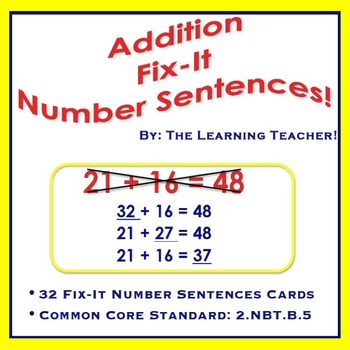 Fix-It Number Sentences (Addition) Task Cards!