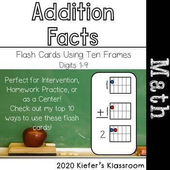 Addition Flash Cards Using Ten Frames