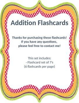 Addition Flashcards 7