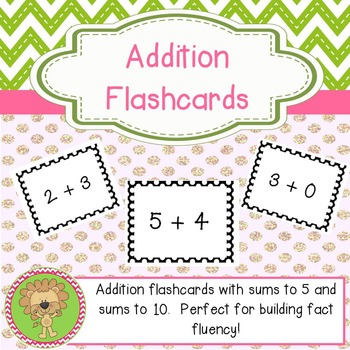 Addition Flashcards - Sums to 5 and Sums to 10
