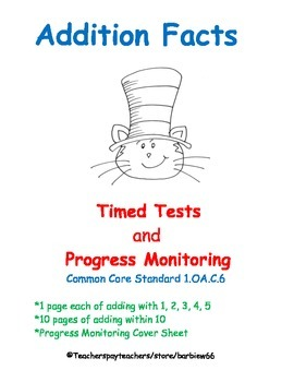 Addition Fluency:  Add within 10 Timed Tests & Progress Mo