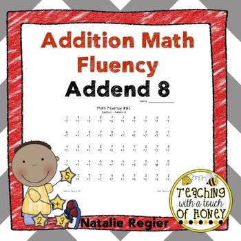 Addition Fluency: Addend 8 Addition Worksheets