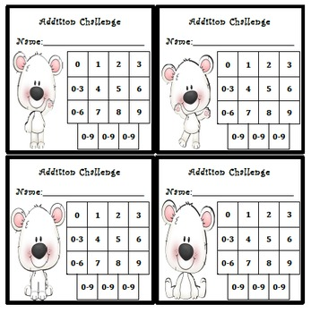 Addition Fluency Progress Chart (Polar Bear Themed)