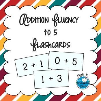 Addition Fluency to 5 Flashcards