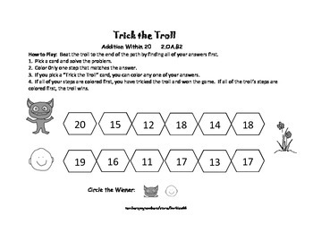 Addition Game Center: Addition to 20: Find the Sum: Trick