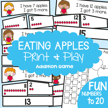 Addition Game - Eating Apples (up to 20) - Math Center