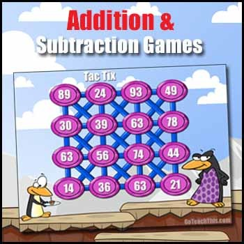 Addition Game & Subtraction Game - Math Fact Fluency Build