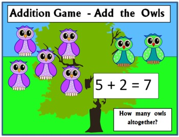 Addition Game for early learners - Add the Owls