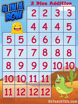 Addition Game - Subtraction Game: Four in a Row - Math Cen