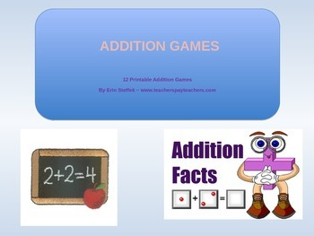 Addition Games - 12 Printable Addition Games with recordin