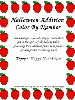 Addition - Halloween Color By Number (sums under 10)