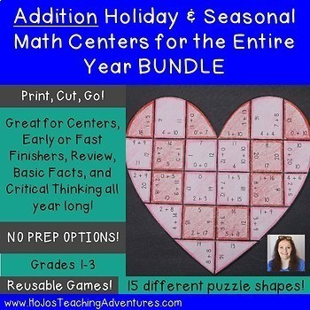 Addition Holiday & Seasonal Math Centers for the Entire Ye