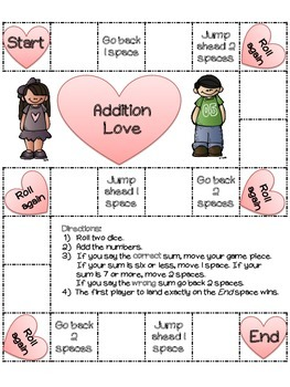 Addition Love: 22 Valentine's Day Board Games (color and b