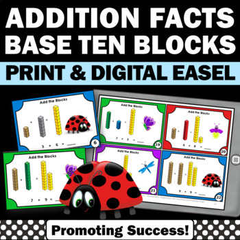 Addition Facts Task Cards with MAB Blocks Special Educatio