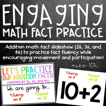 Addition Math Fact Practice- 3s, 4s, and 5s- Active, engag
