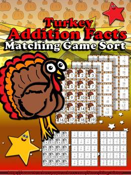 Addition Math Facts Matching Game - Turkey - Thanksgiving