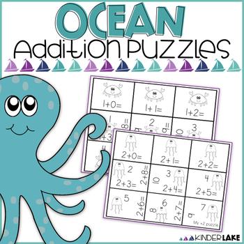 Addition Math Puzzles: Ocean Theme