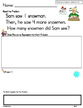Addition Math Word Problems to 10 ** Winter/Snow Unit ** R